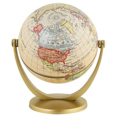 Retro Rotating World Globe Earth Antique Home Office Desktop Decor Geography 2P7