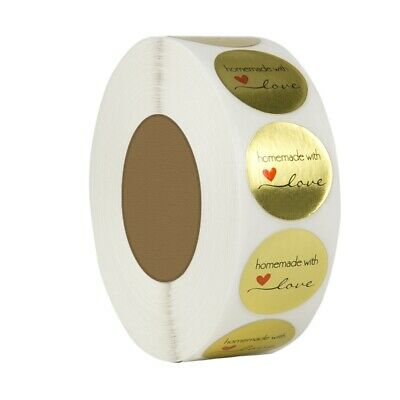 1 Inch Round Gold Foil Homemade With Love Stickers/500 Labels Per Roll G4R8