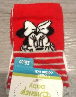 Mothercare Disney Minnie Mouse Pack Of 3 Newborn Babys Socks New
