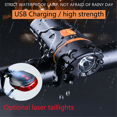 NEW Rechargeable Head Led Lamp Rear Zoomable Front Flashlight For Mountain Bike