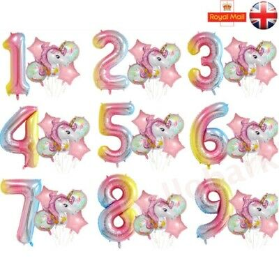 Pink Happy Birthday Unicorn Helium Foil Balloons 1st 2nd 3rd 4 5 6 7 8 9 10 30th