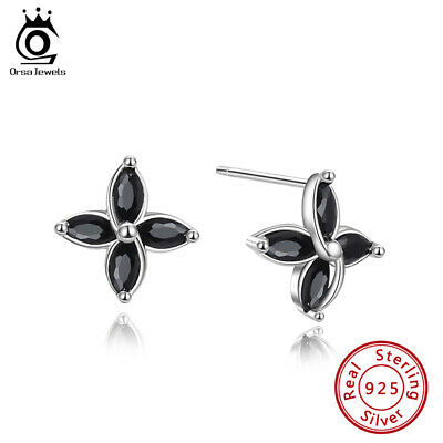 Cubic Zirconia Design Stud Earrings S925 Silver Four Petal Flower Shape Jewelry