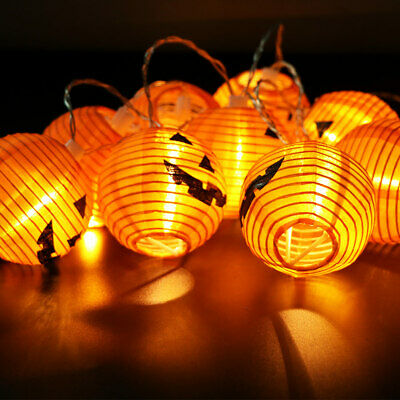 10 LED Pumpkin String Lights Lantern Party Home Props Halloween Decoration New