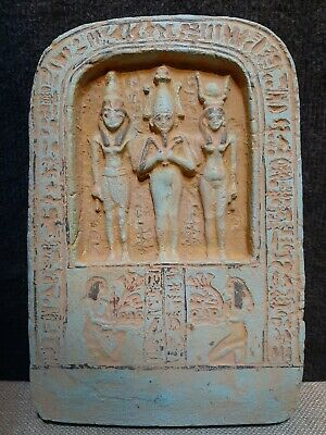 ANCIENT EGYPTIAN ANTIQUES ORISIS, ISIS , HORUS Palque With Hieroglyphics 1375 BC