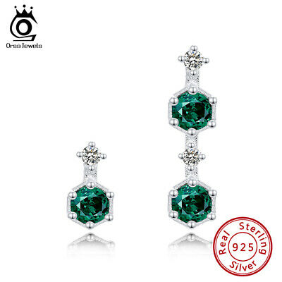 Green Cubic Zirconia Design Dangle Earrings S925 Silver Women Beauty Jewelry
