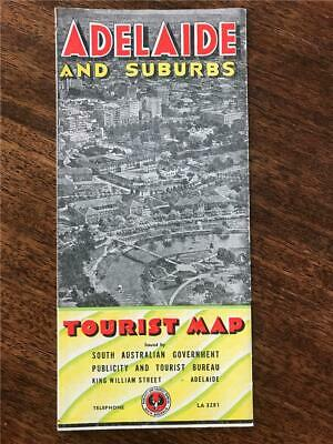 1955 Adelaide & Suburbs Tourist fold out map South Australia points of interest