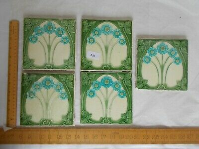 Vintage Arts And Crafts Style Glazed Wall/Floor Tiles x 5 - REF825