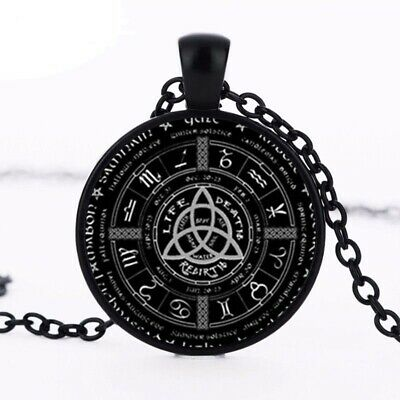 Pagan Wheel Of The Year Necklaces Pentagram Pendant Round Photo Wiccan Jewelry