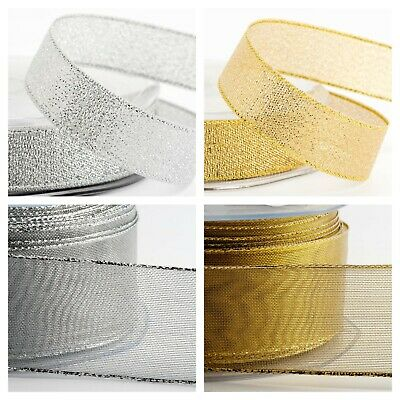 Lurex Metallic Ribbon - Lame Glitter Sparkly Christmas Crafts Silver Gold