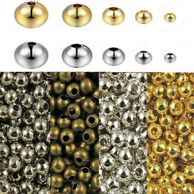 Wholesale Metal Round Spacer Beads Silver Gold Black Plated 3mm 4mm 5mm 6mm 10MM