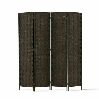 Artiss 4 Panel Room Divider Privacy Screen Rattan Woven Solid Wood Stand Brown