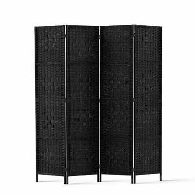 Artiss 4 Panel Room Divider Privacy Screen Rattan Woven Solid Wood Stand Black