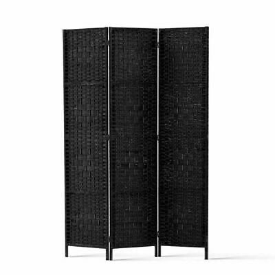 Artiss 3 Panel Room Divider Privacy Screen Rattan Woven Solid Wood Stand Black