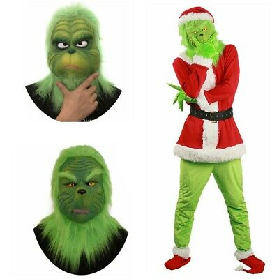 Adult Santa Grinch Mask Cosplay Costume How the Grinch Stole Xmas Suit Outfits