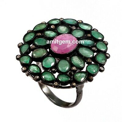 Red Ruby Green Emerald Rose cut Diamond 925 Sterling Silver Victorian Ring R-366