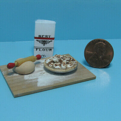 Dollhouse Miniature Making Apple Pie with Flour on Cutting Board F105