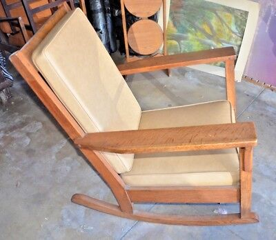 Antique Mission Oak Rocker - Stickley Era Arts & Crafts Rocking Chair