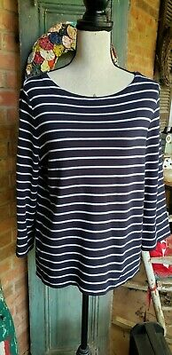 Nautica Classic Navy Blue and White Striped 3/4 Sleeve Boat Neck Top Size XL