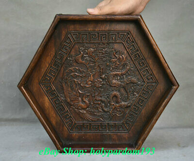 """14"""" Old Chinese Huanghuali Wood Carving Dragon Phoenix Hexagon Plate Tray Pallet"""