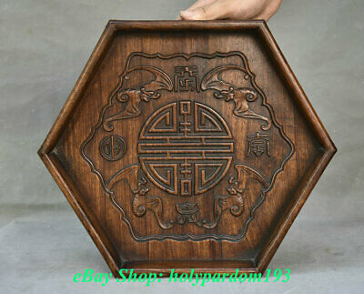 """14"""" Antique Chinese Huanghuali Wood Carving Dynasty Bat Lucky Plate Dish Tray"""