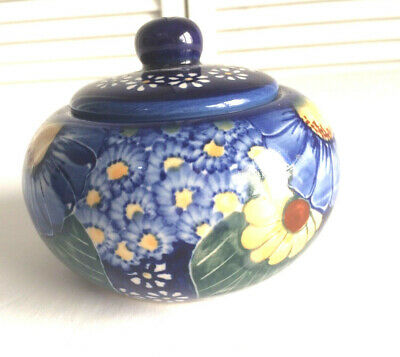 Unikat Signed Small with Lid Flowers Blue and Yellow Design Very Nice Condition