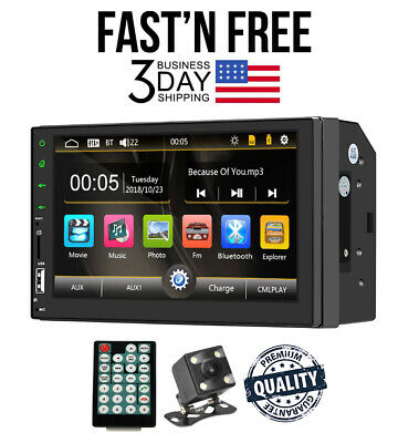"""Bluetooth Car Stereo Touch Screen 2DIN 7"""" GPS MP5 FM Radio Player Rear Camera"""