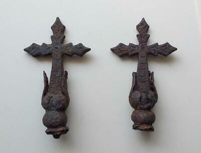 Antique wrought iron primitive blacksmith two iron crosses from old church fence