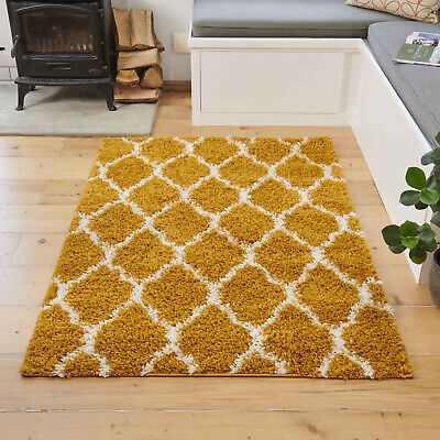 Ochre Yellow Moroccan Trellis Shaggy Rugs Thick Dense Warm Cosy Living Room Rug
