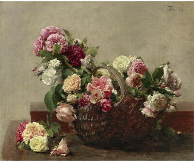 Henri Fantin Latour Basket Of Roses Giclee Canvas Print Paintings Poster