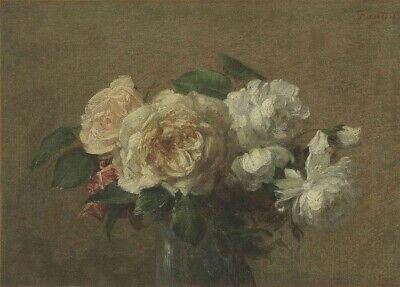 Henri Fantin Latour White and yellow roses Giclee Canvas Print Paintings Poster