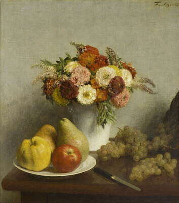 Henri Fantin Latour Flowers And Fruit Giclee Canvas Print Paintings Poster