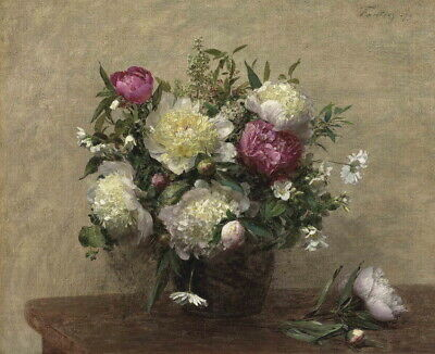 Henri Fantin Latour Peony Vase Giclee Canvas Print Paintings Poster Reproduction