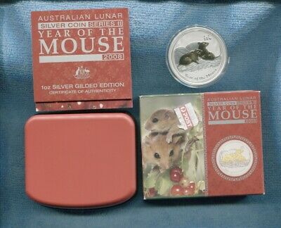 2008 Lunar $1 Year Of Mouse 1 oz Silver Gold Gilded ounce Perth Mint Coin
