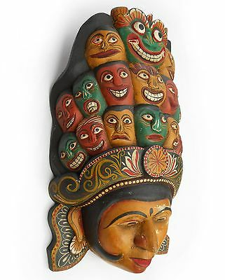 Antique Decorative Hand Carved wooden wall hanging Ancient mask > sab0045