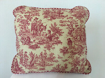 """Waverly Country Life Garnet Red Cream Pastoral French Country Toile PILLOW 16/"""""""