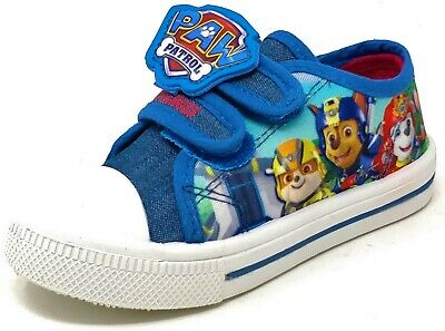 Childrens Boys Girls Blue Paw Patrol Canvas Shoes Hook & Loop Kids Trainers