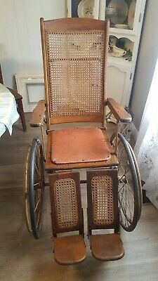 Antique Gendron Wheel Co. 221B Wood / Wicker Wheel Chair - Recliner WWI WWII