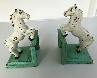 Two Vintage Rustic Painted Cast Iron Book Ends with White Horse/Pony Figures