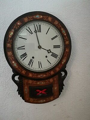 Antique American Wall Clock Inlay Mother Of Pearl drop dial working