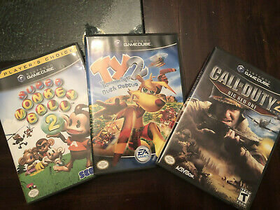 Gamecube Games - Lot of 3 Super Monkey Ball, Ty2, Call of Duty 2