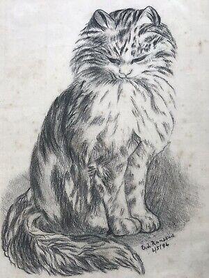Antique 19th Century Charcoal Drawing Of Cat -Signed & Dated '94.