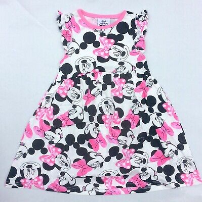 Girls Kids Toddler Official Disney Minnie Mouse Summer Jersey Printed Dress