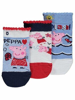 George Girls Kids Official Peppa Pig Trainer Liner Socks 3 Pack