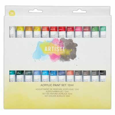 DoCrafts Artiste Acrylic Paint 12ml Packs of 12 OR 24, Crafters acrylic paints