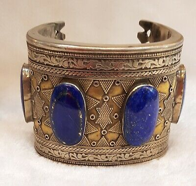 Wonderful Real Old Silver Vintage Bangle / Cuff with Lapis Lazuli Natural Stone