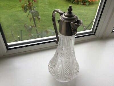 Vintage Bacchus Silver Plate Claret Jug , Cut Glass 11 Inches Tall