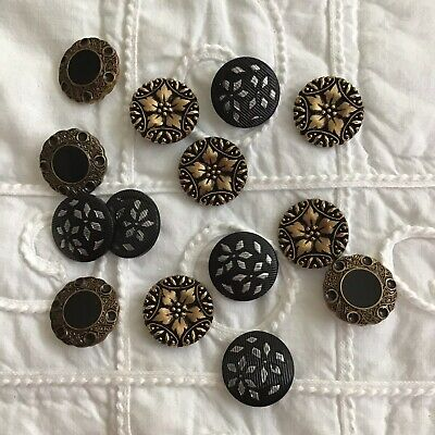 Lot 14 Vintage Black Gold Silver Ornate Victorian Style Shank Buttons