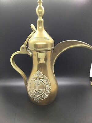 Hand Decorated Brass Tea/Coffee Pot Arabic Dallah Middle East, copper rivots