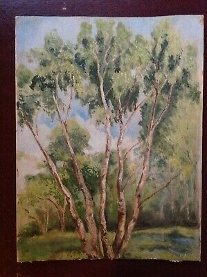 Vintage - Oil on Board Landscape Painting - French Impressionist - Trees Woods