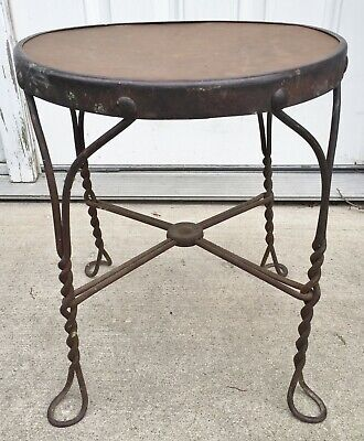 Vintage 1920s Ice Cream Parlor Wrought Iron Metal & Wood Stool
